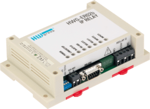 HW group ER02b Ethernet relay with a full RS-232/485 converter, monutable on a DIN rail.