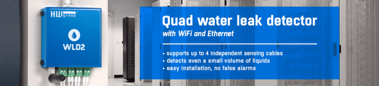 Quad water leak detector with WiFi and Ethernet using up to four sensing cable.